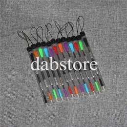 Wholesale Plastic Ends - Top sale 120mm wax carving dab tool with plastic tube package stainless steel wax dabber tools silicone tip end smoking metal dab tools