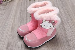 Wholesale Korean Boots For Girls - 2016 Cute Little Girls Snow Boots Lovely Cartoon Boots for 3 to 7 Years Old Kids Thick Floss Warm Lining Korean Style Pink Princess Boots