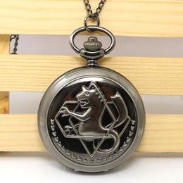 Wholesale Fullmetal Alchemist Pocket - Wholesale-Hot Japanese Animation Fullmetal Alchemist Theme Black Smooth Quartz Pendant Pocket Watch With Necklace Chain For Children Kids