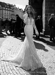 Wholesale Short Weding Dresses - Sexy Back Berta Lace Applique Mermaid Wedding Dresses Full Lace Long Short Sleeve V-Neck Line Bridal Gowns Weding Dresses Sweep Train