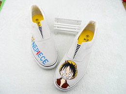 Wholesale Handpainted Shoes - New Hand-painted Canvas Cartoon Shoes One Piece Monkey D Luffy Graffiti Handpainted Shoes Low Sneakers Loafers Men Women Shoes Cheap Sale