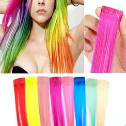 Wholesale Hair Streaks Color - Wholesale- Cheap Sale! 8colors for choose COS European and American punk Harajuku color streaked wig piece wig hair piece wig