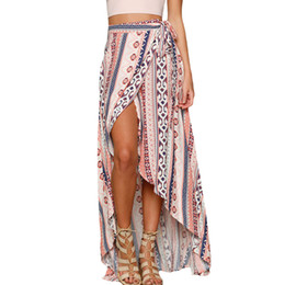 Wholesale Stripped Skirts - 2017 Fashion Summer Beach Style Women Long Skirt Stripped Ethnic Print Maxi Skirt Wrapped Beach Skirt LC42061 Faldas Largas