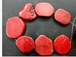 2019 pérola turquesa vermelho Frete Grátis Hot Red Turquesa Pedra Fatia Solta Pérola 20x35mm 16 polegada talão pérola turquesa vermelho barato