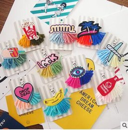 Wholesale Anniversary Deliveries - Contrast color fashion jewelry brooch pin and small objects Cloth art tassel badge pin mix delivery