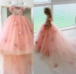 Wholesale Hand Made For Baby - Baby Pink Flower Girls Dresses For Weddings Spaghetti Straps Lace Appliques Flowers Lace Tulle Girls Pageant Gowns Long Kids Party Dress