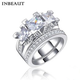 Wholesale Wholesale Couple Wedding Rings - INBEAUT Real 925 Silver Crystal Stones Princess Ring Set Women 2 Ring Sets 2 Ct Bridal Wedding Rings Femme Jewelry for Fingers