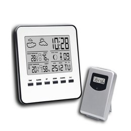 Wholesale Digital Wireless Weather Station - In Outdoor Thermometer Hygrometer Wireless Weather Station LCD Digital Temperature Humidity Meter Weather Forecast Alarm Clock