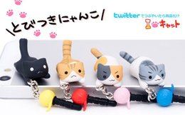 Wholesale Dust Plug Anime - DHL FEDEX FREE SHIPPING With packaging kawaii Chi's cat headset Anti dust plug for cell phone ks cute anime ear jack earphone cap wholesale