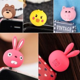 Wholesale Animal Cap Plug Iphone - 3.5mm Cartoon Animal Dust Plug earphone jack For iphone Samsung xiaomi Htc Smartphone Stopper cap headphones Phone Accessories