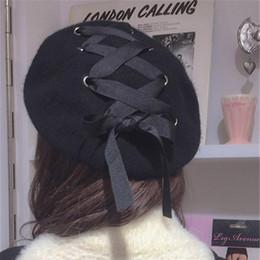 Wholesale Girls Winter Beret Caps - Wholesale-winter women hats bow tie girl caps Woolen fabric Felt Straps Bandage Beret Beanie female sombrero Fashion Warm solid chapeau