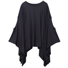 Wholesale Capes Ponchos For Women - Wholesale- New 2016 Womens T Shirts Sexy Oversized Asymmetric Tunic Poncho Cape Casual Top For Women Batwing Sleeve irregular Loose t-shirt