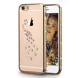 Wholesale Iphone Case Rhinestone Retail - Luxury Soft Hybrid TPU Electroplating Bling Diamond Image Series Case With Retail Package For iPhone Samsung A9 OPPO HUAWEI