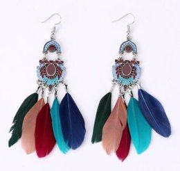 Wholesale Vintage Enamel Brass - 5 Styles Vintage Ethnic Style Feather Earrings for Women Enamel Jewelry Exquisite Handmade Tassel Drop Earrings Free DHL B623S