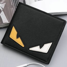 Wholesale Korean Dress Fashion Black Color - Small monster wallet Color eye purse Cool short cash note case Money notecase Leather burse bag Card holders