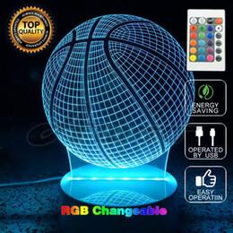 Mais novo Blub Lâmpada 3D Remoto Optical Basketball Forma Quarto Night Light Nightlight Cabeceira para a Criança Eletrônico Iluminação Gadget de