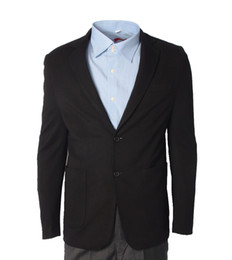 Wholesale Slim Skinny Fitting Blazers - New arrival slim fit mens Tuxedos with Black lapel best men suits Custom Made Groomsmen suits Prom Business