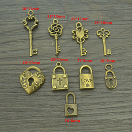Wholesale Metal Charms Pendant Heart Lock - Wholesale- 9 pcs Mix sale antique bronze Charms metal key & heart lock Pendants for Jewelry Making DIY Handmade Craft 42116B