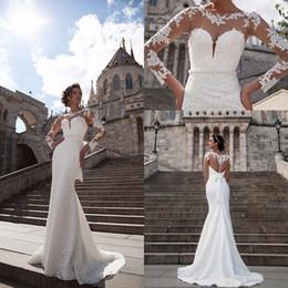 Wholesale Bow Knot Long Sleeve - 2017 New Vintage Sheer Long Sleeves Lace Wedding Dresses Mermaid Appliques Bow Knot Button Back Wedding Dresses