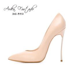Zapatos de marca Mujer Rojo Tacones altos Bombas 12 CM Zapatos de boda para mujer Negro Desnudo naranja amarillo blanco zapatos sin cordones punta puntiaguda 12 cm desde fabricantes