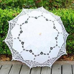 Wholesale Handmade Embroidery Lace - Long Handle Handmade Art Wedding Scallop Edge Embroidery Lace Wedding Umbrella Parasol Romantic Bridal Photograph Umbrellas CCA7360 50pcs