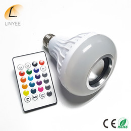 Wholesale smart rgb led - E27 Smart RGB Wireless lampada Bluetooth Speaker Bulb Music Playing Dimmable LED RGB Music Bulb Light Lamp With 24 key remote controller