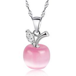 Argentina Nuevo lindo cristal y blanco opal rosa y verde claro collar colgante de manzana para las mujeres y las niñas de moda joyería de forma de manzana cheap apple necklaces for women Suministro