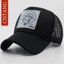 Toptan Satış - CNTANG Yaz Kadın Erkek Rhinestones Hayvan Resim Şapka Beyzbol Şapkası Hip hop Siyah Hasır Trucker Snapback Marka Şapka Caps cheap picture mesh nereden resim ağ tedarikçiler