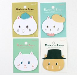 Wholesale Sticky Pad Big - Wholesale- 4Pcs Set Cute Big Face Cats Memo Pad Sticky Notes Memo Notebook Stationery Papelaria Escolar School Supplies