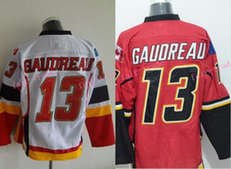 Wholesale Jersey Tops Free Shipping - Gaudreau Hockey Jerseys Calgary Flames #13 Johnny Gaudreau Home Red White Stitched TOP Quality Free Shipping