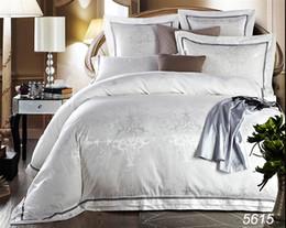 Wholesale 6pcs Comforter Set - 6pcs 4pcs Jacquard silk bedding set queen king Luxury Satin quilt duvet comforter cover bed linen bedclothes home textile 5615