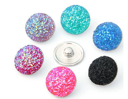Wholesale February Jewelry - 50 pcs 18mm Noosa February 2017 hot sale snap button alloy fit pendant acrylic buttons DIY accessories jewelry buttons Random colors