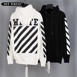 Wholesale Sleeve Black White Stripes - New Brand OFF WHITE Mens Pullover Stripe Offset Print Hoodies Fleece Sweatshirts Brand Vision Religion Painting VIRGIL ABLOH Free Shipping