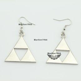 Wholesale Zelda Earrings - MF0616 The Legend Of Zelda Triforce Pendant Earrings Movies Jewelry Charms Gift for girl women jewelry accessories