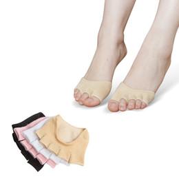 SPUGNA di donna in silicone anti-Slip Punta Aperta heelless invisibile Calzino Calzini Avampiede