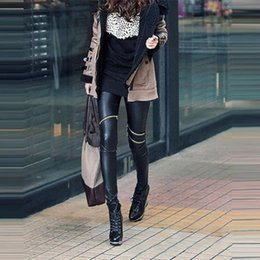 Wholesale Leather Pants Style Women - Fashion Classical Style Slim Skinny Fit Sexy Zip Faux Black Leather Leggings Pants For Women Free Size