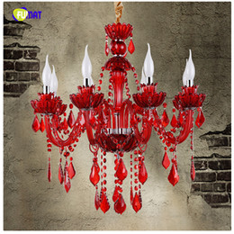 Wholesale Candle Pendant Style Lighting - European Style K9 Red Crystal Chandelier Cafe Restaurant Bar Lamp Coffee Diffuse Crystal Chandelier Candle LED Lamps 6 8 12 Arms