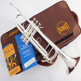 Wholesale Bach Silver Trumpet - Wholesale- Bach Trumpet Original authentic Double silver-plated TR-190GS B flat professional trumpet musical instruments Brass bugle