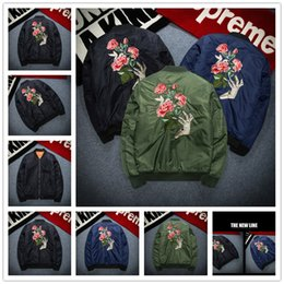 Wholesale Tooth Suit - 2017 winter Fashion brand men jackets Embroidery baseball uniform shark teeth flight suit The air force coat mens jumper