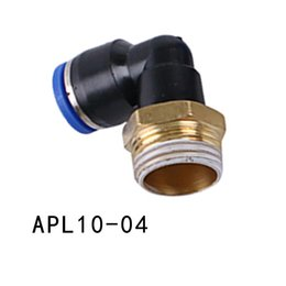 """Wholesale Pneumatic Push Fittings - 5PCS LOT 90 Degree Extended Pneumatic Connector 10mm Tube to 1 2"""" BSP Male Thread Elbow Connector Push In Fitting APL10-04"""