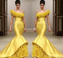 3aade5c9e8210 taffeta jacket plus size formal Promo Codes - New Design Yellow Mermaid  Pageant Evening Dresses One