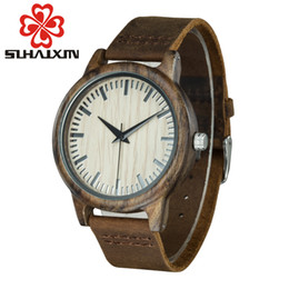 Wholesale Mens Leather Bracelets Brown - 2017 men's quartz watch watches with wooden bamboo wood bracelet luxury mens watch movement Japanese casual men's watch