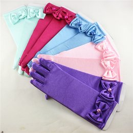Wholesale Wholesale Silk Girls Gloves - Wedding girls gloves silk kids bow gloves pearls children's dancing gloves party stage gloves