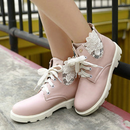 Wholesale Sexy Ladies Heel Lace Boots - Wholesale-Ankle Boots Women Fashion Short Boot,Winter Flat Heel Shoes Sexy Ladies Shoes