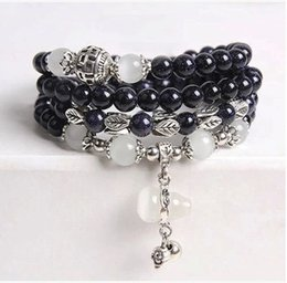 Wholesale Natural Blue Gemstones - Crystal Bracelet Gemstone Bracelets Natural Blue Sandstone Retro Starry Sky White Cat's Eye Gourd Male And Female Couple Bracelet