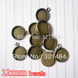 Wholesale Tray Earring Blanks - antique bronze 500piece 12mm bezels round hung charm earring dangle pendant tray jewelry blanks cameo base cabochon setting