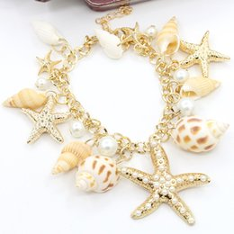 Estrella de mar online-2017 bohemio estrella de mar seashell charm bracelet joyería hecho a mano vintage ocean sea star shell concha brazalete de perlas brazalete para las mujeres