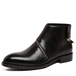 Wholesale Wedding Boots For Men - Brand autumn Designer fashion mens ankle motorcycle boots genuine leather men shoes for party wedding 2017