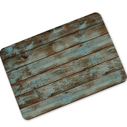 Wholesale Outdoor Rubber Rugs - Rustic Vintage Wood-like Door Mats Rubber Bath Mat Rug Carpet Anti-slip Outdoor Indoor Front Doormats Kitchen Retro Floor Mats