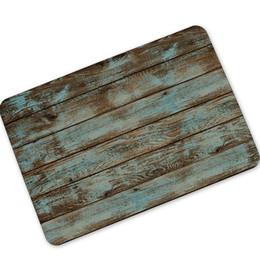 Wholesale Rubber Outdoor Doormat - Rustic Vintage Wood-like Door Mats Rubber Bath Mat Rug Carpet Anti-slip Outdoor Indoor Front Doormats Kitchen Retro Floor Mats
